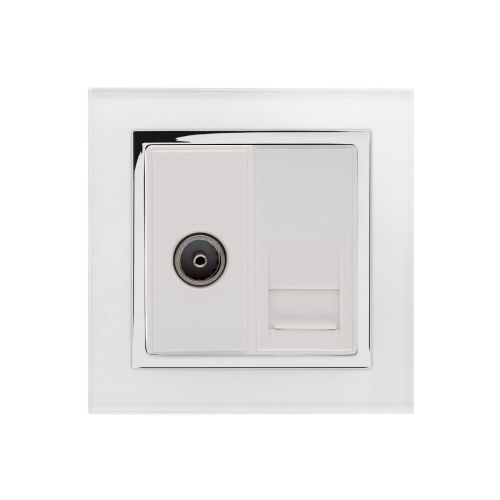RetroTouch Crystal TV/BT Master Tel Socket White Glass CT 04071